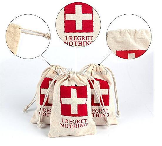 Housekeeping Wedding Hangover Kit Bags 10*15cm Cotton Wedding Favor Holder Bag Bachelorette Party Decorations Event Party Supplies