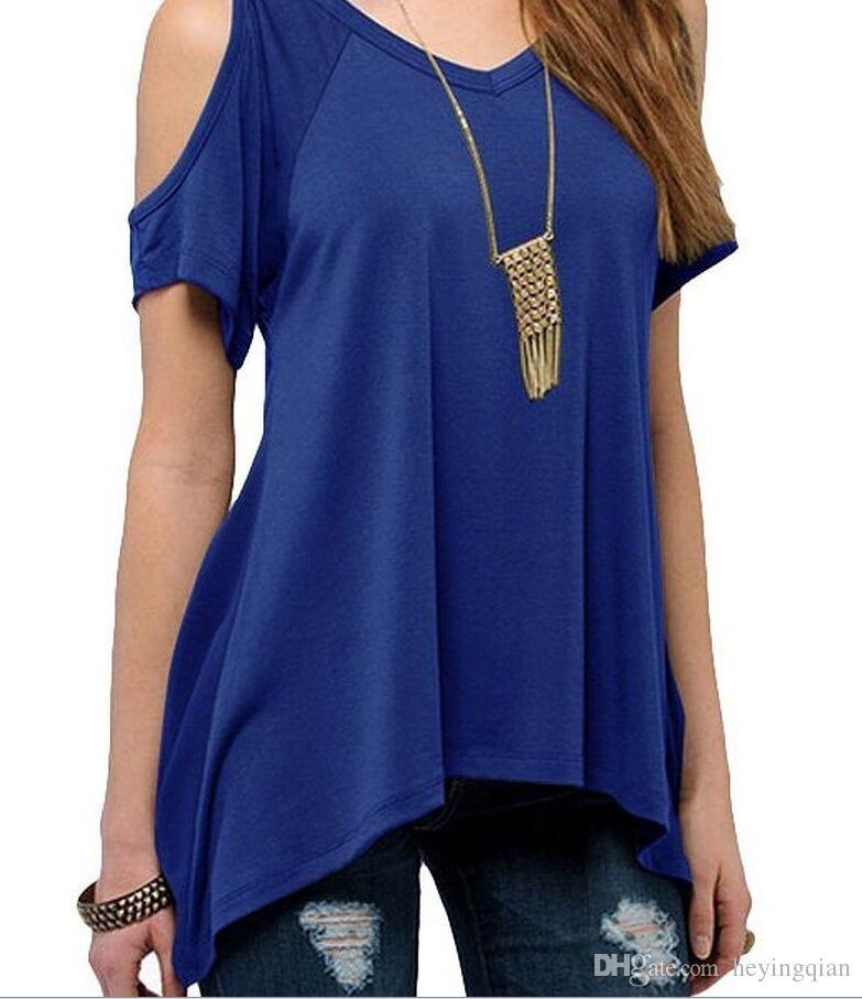 2018 Marque de vêtements d'été V pur coton à manches courtes col sans bretelles ourlet queue de poisson femme T-shirt Livraison gratuite S-XXXL