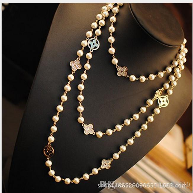 Fashion Women Golden Chain Four Leaf Clover Necklace Jewelry Women Elegant Beaded Pearl Design long sweater chain necklaces strands/strings
