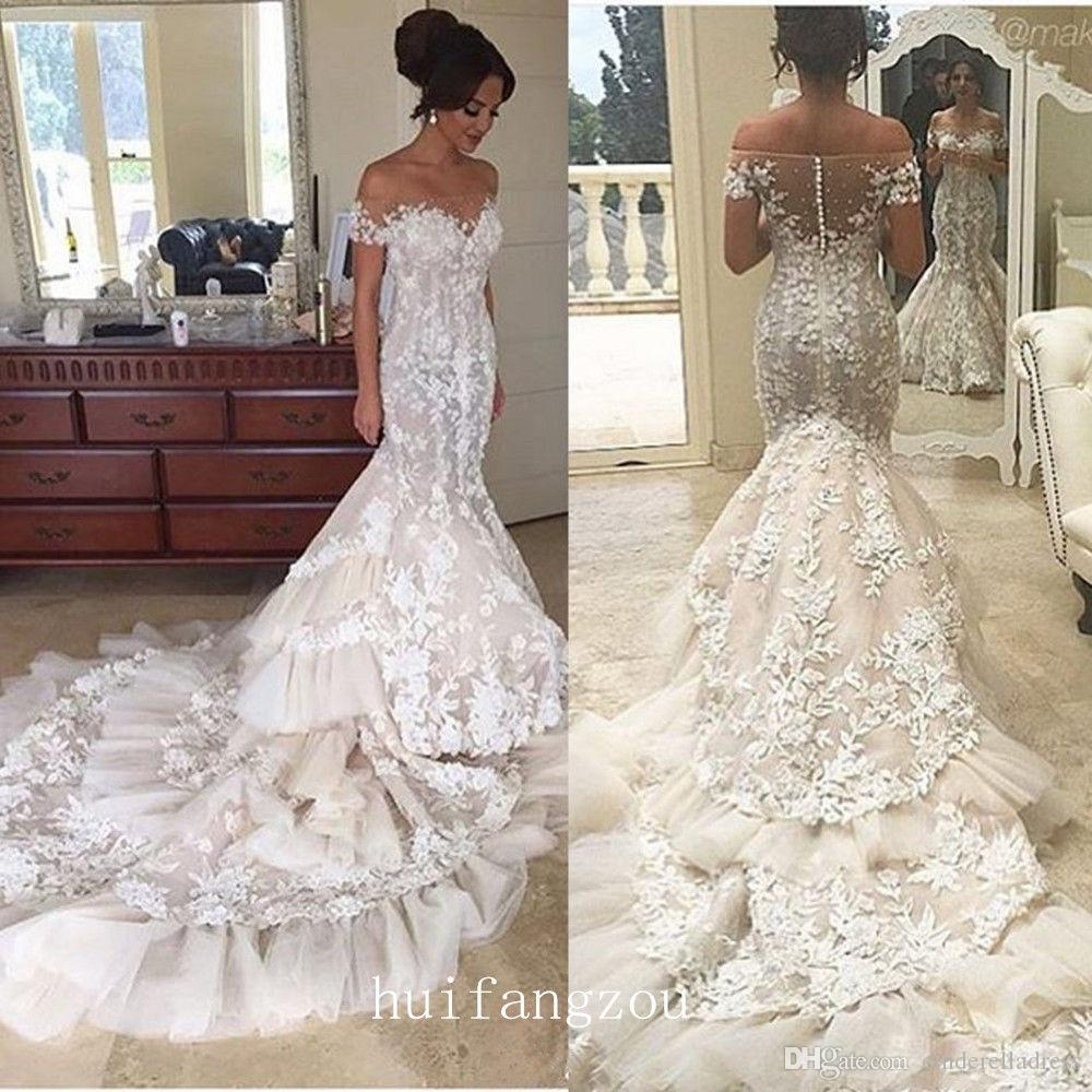 0d7f04e00e0 2017 Off Shoulder Lace Mermaid Wedding Dresses Appliques Sheer Backless  Tiered Skirts Ruffles Tulle Chapel Train Vintage Bridal Gowns BA4118 Modern  Wedding ...
