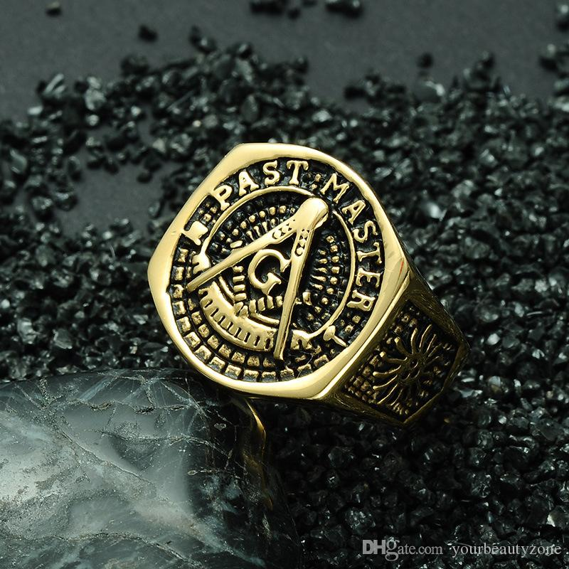 MCW HIP HOP Style Free Masonic Ring Titanium Steel AG Freemason Pattern Past Master Letters Rings Gold Color