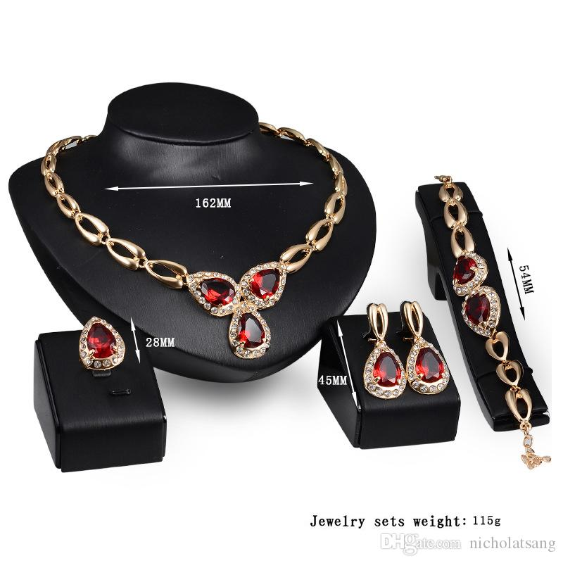 African Bridal Jewelry 18k Gold Plated Red Austrian Crystal Necklace Rings and Earrings Sets Dubai Wedding Jewelry Set for Women