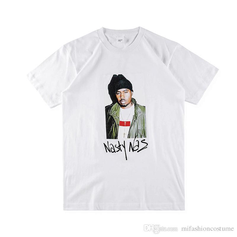 Box logo Hip Hop Nasty Nas PHOTO Tee Skateboard Cool Rapper T-shirt Men Women Cotton Casual TShirt