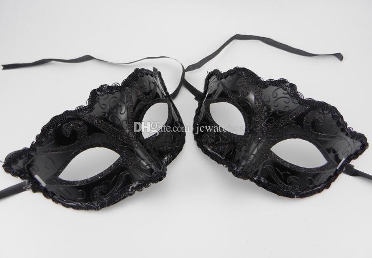 Schwarz Venedig-Schablonen-Maskerade-Partei-Weihnachtsgeschenk Karneval-Man-Kostüm Sexy Spitze säumte GILTER Frauen-Tanz-Maske durch DHL Maske
