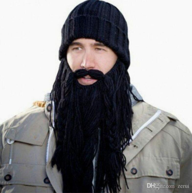 79589bce6ff ... Wig Beard Hats Hobo Mad Scientist Caveman Handmade Knit Warm Winter  Caps Men Women Halloween Gifts ...