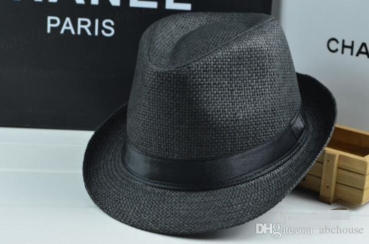 Men Women Straw Hats Soft Fedora Panama Hats Outdoor Stingy Brim Caps Colors Choose