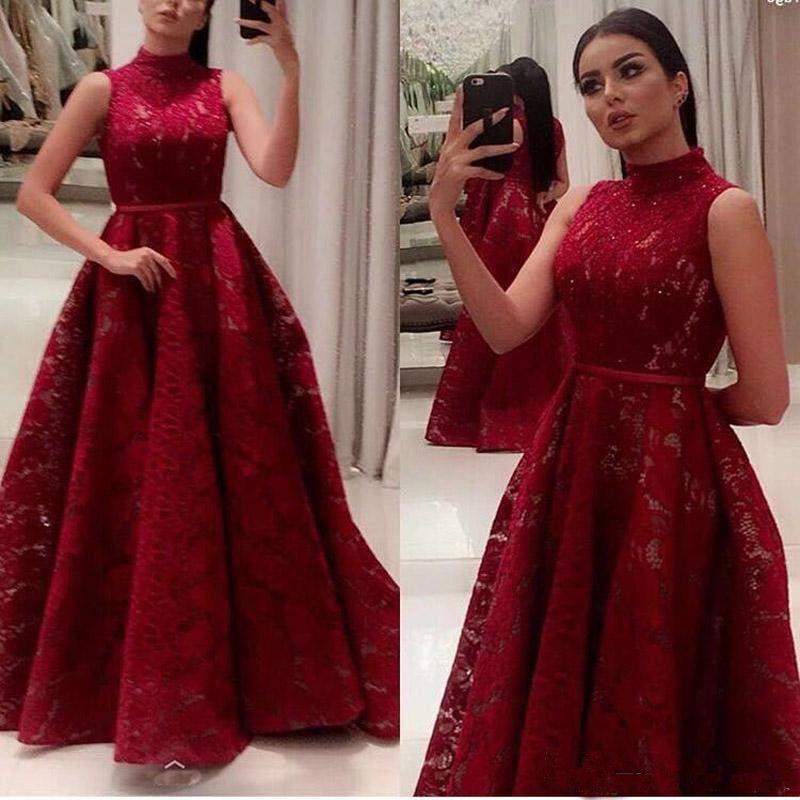 Dark Red Nigerian Lace Styles Prom Dress Long 2018 High