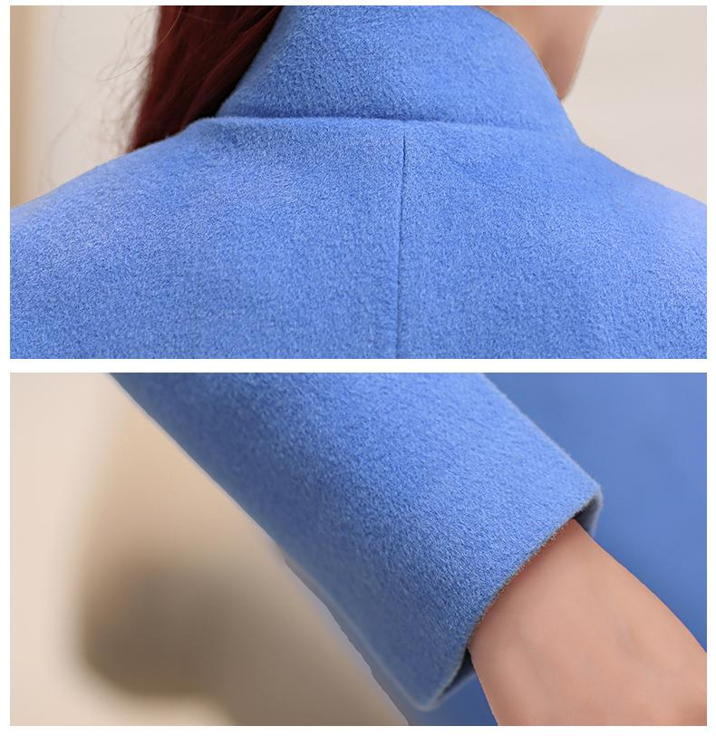 High Quality New Autumn Winter Woolen Coat Womens Slim Long Sleeve Coat Special Fashion Stand Collar Design Coats D4