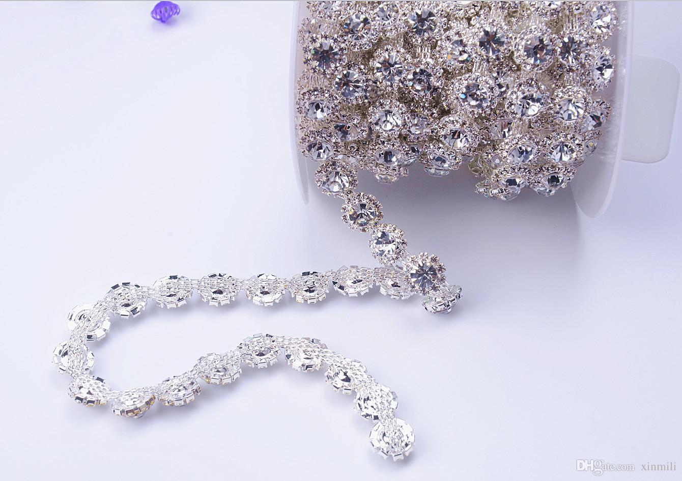 Free shippment new 1yardsclear strass crystal rhinestone 1cm width silver tone round chain fancy costume applique trim sewing