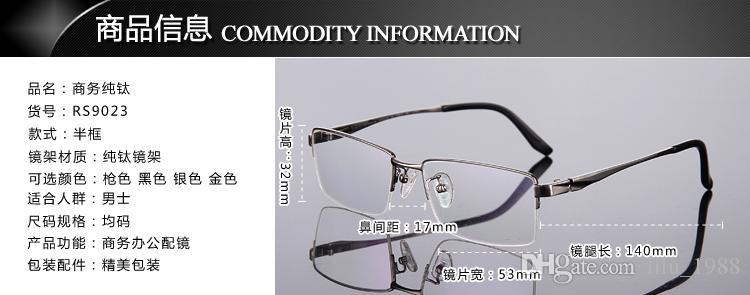 Новый оправа мужчины половина обода рамка близорукость очки титана очки рамка с прозрачными очками близорукость 9023