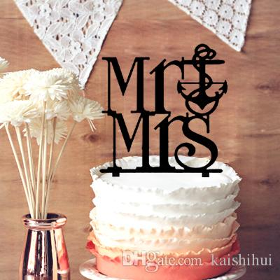 2019 Mr And Mrs Anchor Wedding Cake Topper Silhouette Vintage Bride Birthday Party Decor From Kaishihui 1568