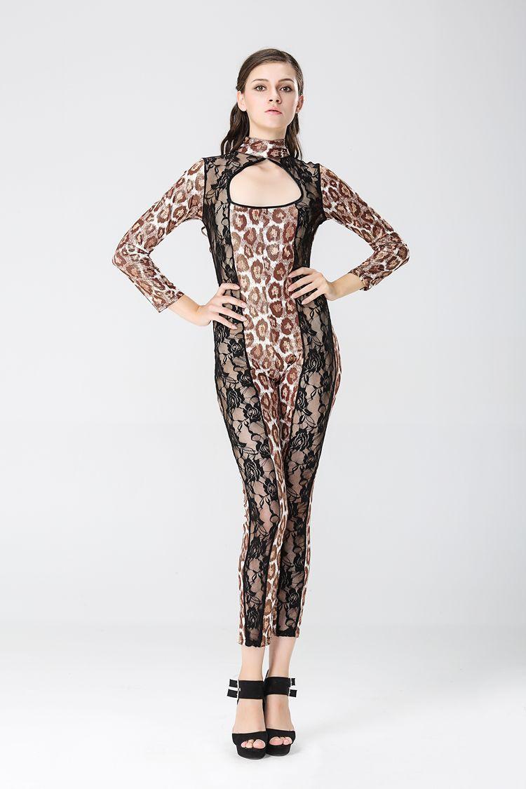 Los clubes de lencería femenina atraen a la dama del gato leopardo acompañada con el polo DS, barra de baile, trajes de escenario, imitación de cuero, uniforme de sabor