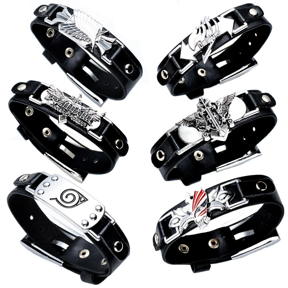Anime Cartoon Final Fantasy Assassins Creed Legend of Zelda One Piece Attack on Titan Tokyo Ghoul Death Note Leather Wristband bracelet