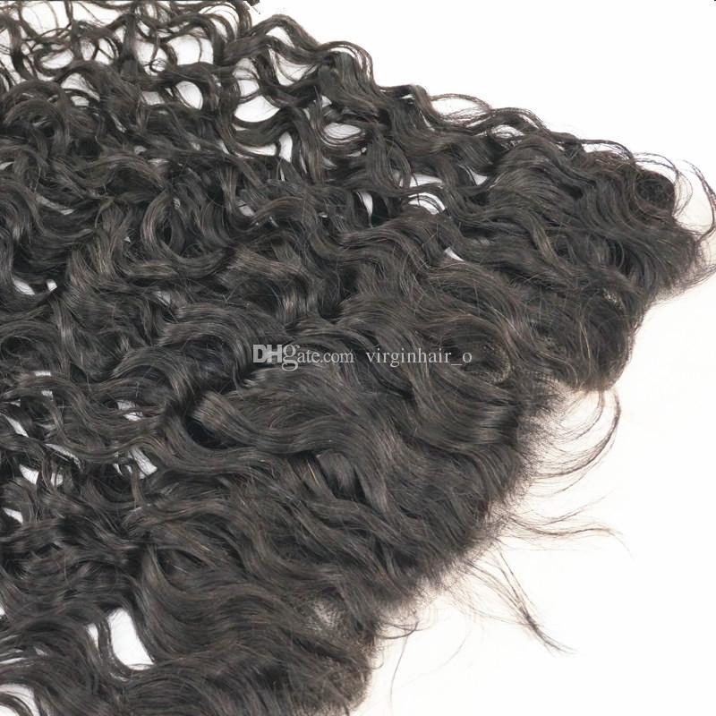 Fechamentos frontais peruanos do Virgin do cabelo humano do peru Orelha à orelha Frontals do laço da onda de água do cabelo de Remy da orelha 13x4 com o cabelo do bebê molhado e ondulado