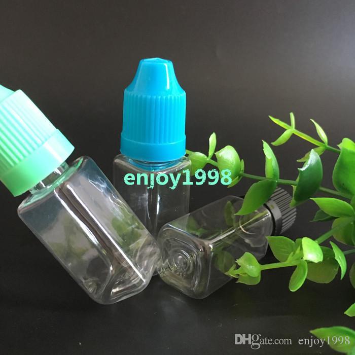 Schnelle Lieferung Platz Eliquid Flaschen 10ml Mischung färbt Kindersicherheits Caps Klare PET Dropper Kunststoff-Flaschen leeren 10ml Cubed Flaschen Verkauf