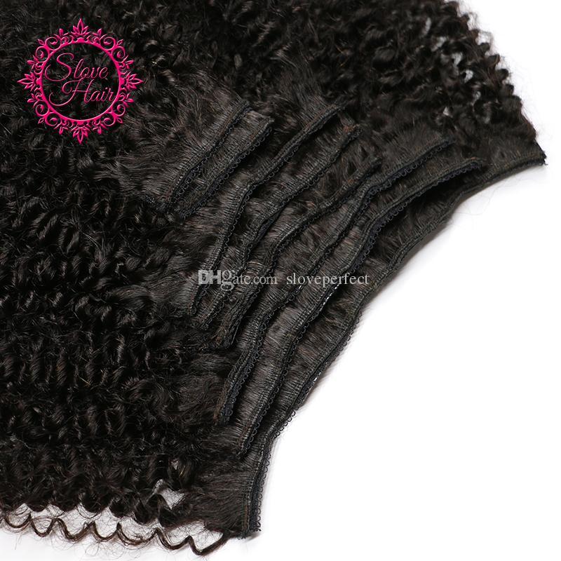 Capelli vergini mongoli afro afro ricci crespi capelli clip in estensioni dei capelli naturali nero clip ins