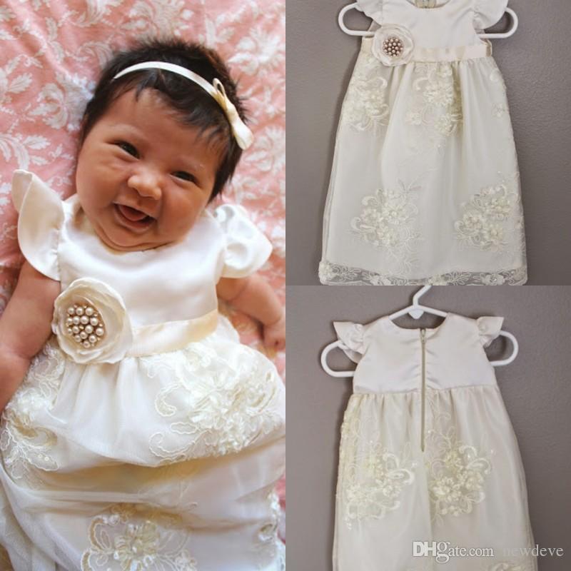 3D Floral Appliques Pageant Dress Infants Lace Christening Dress For ...