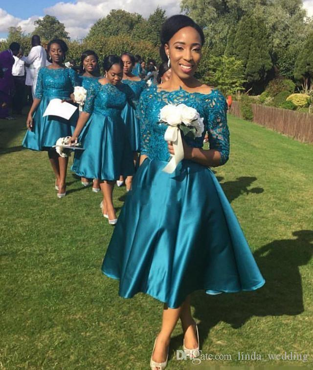 2017 Sexy Vintage Tea Length Country Style Bridesmaid Dress Teal Garden Formal  Wedding Party Guest Maid Of Honor Gown Plus Size Custom Made Lilac  Bridesmaid ... 2121c6992634