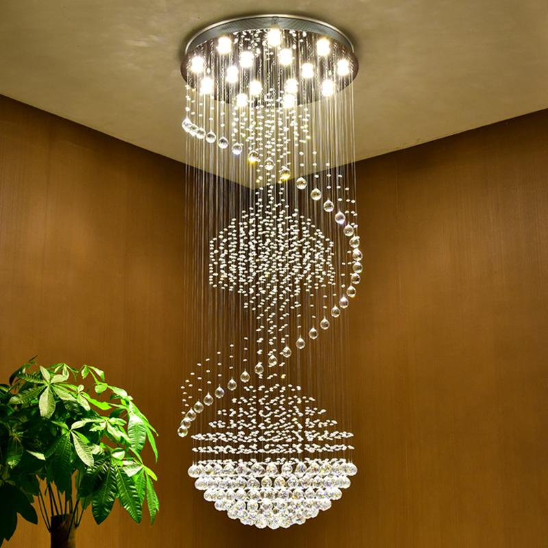 Modern Led Chandeliers Luxury Chrome Large K9 Clear