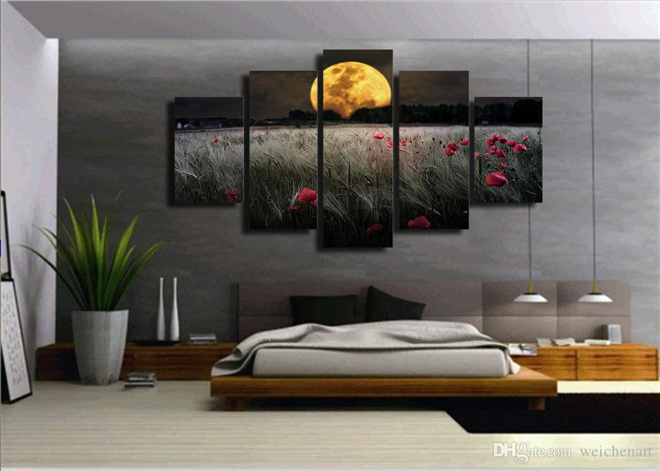 No Framed HD Printed Moonlight flowers Painting Canvas Print room decor print poster picture canvas contemporary wall art