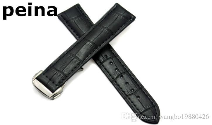 22 milímetros New alta qualidade preto e marrom de couro genuíno Assista Bandas cinta de aço inoxidável com fecho Para Omega Watch