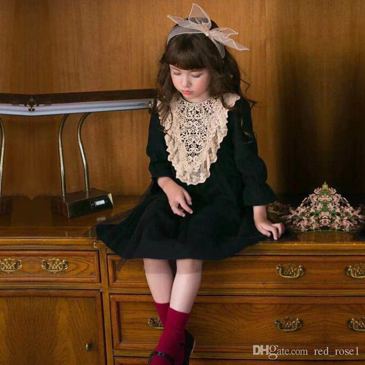 2017 Dziewczynka Kid Party Dress New Children Dzieci Spadek Koronki Flare Sukienki Sukienki, Princess Girls Słodka Sukienka Boże Narodzenie Suknie Dzieci Odzież