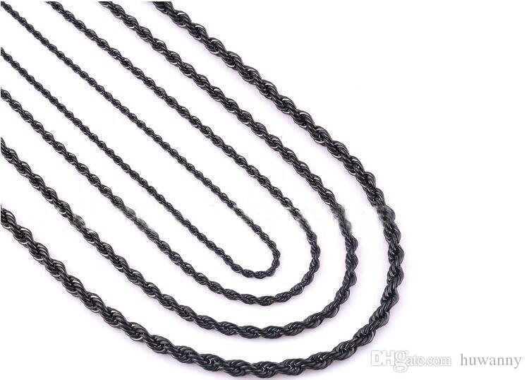 2.5mm Gold Twist Chains Necklaces For Men Titanium Steel Rope Chain Necklace 20 22 24inch Jewelry wholesale 0011LDN