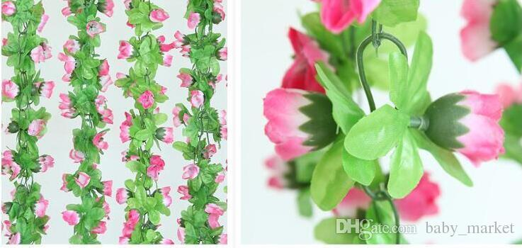 15% скидка! 2.2 м искусственные розы цветы глицинии лозы цветок ротанга Шелковый цветок для кондиционирования воздуха украшения свадьбы и украшения дома 16 шт./