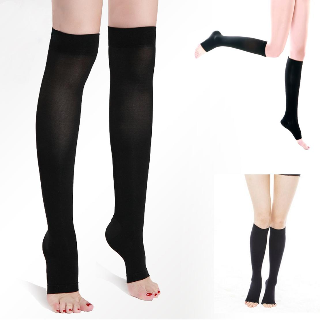 5f0fd639941 New Women Acrylon Knee High Compression Slim Thin Leg 30 40 Mmhg Supports  Open Toe Varicose Veins Shaping Stockings Shapewear Leggings Slimmer Thighs  From ...