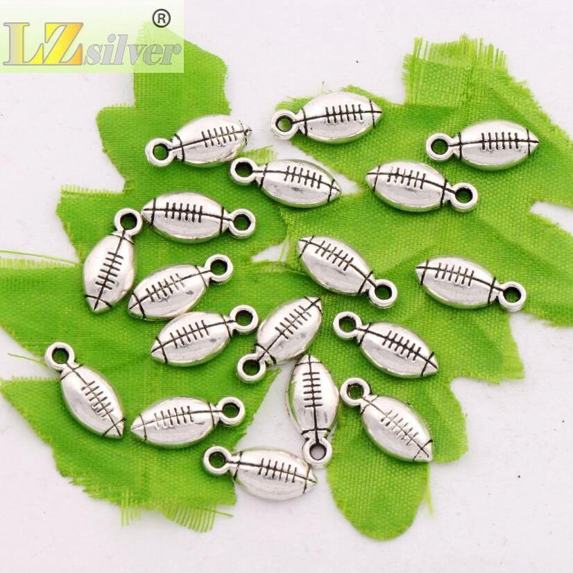 Antique Silver Soccer Rugby Esporte De Futebol Spacer Charme Beads 300 pçs / lote Pingentes Liga Jóias Artesanais DIY L567 15.4x7.1mm
