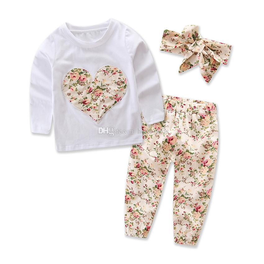 Baby Girl INS Em Forma de Coração Ternos de Flores Crianças Criança Infantil Casual Curto de manga Longa T-shirt + Calças + Faixa de Cabelo Conjuntos Pijamas Roupas