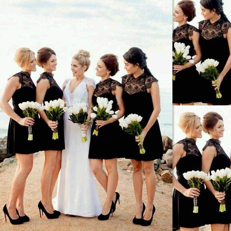 2166bb316685 Short Black Bridesmaid Dresses Lace High Neck Mini Beach Wedding Party  Gowns A Line Summer Elegant Dress For Girls 2016 Bridesmaids Dresses Long  Designer ...