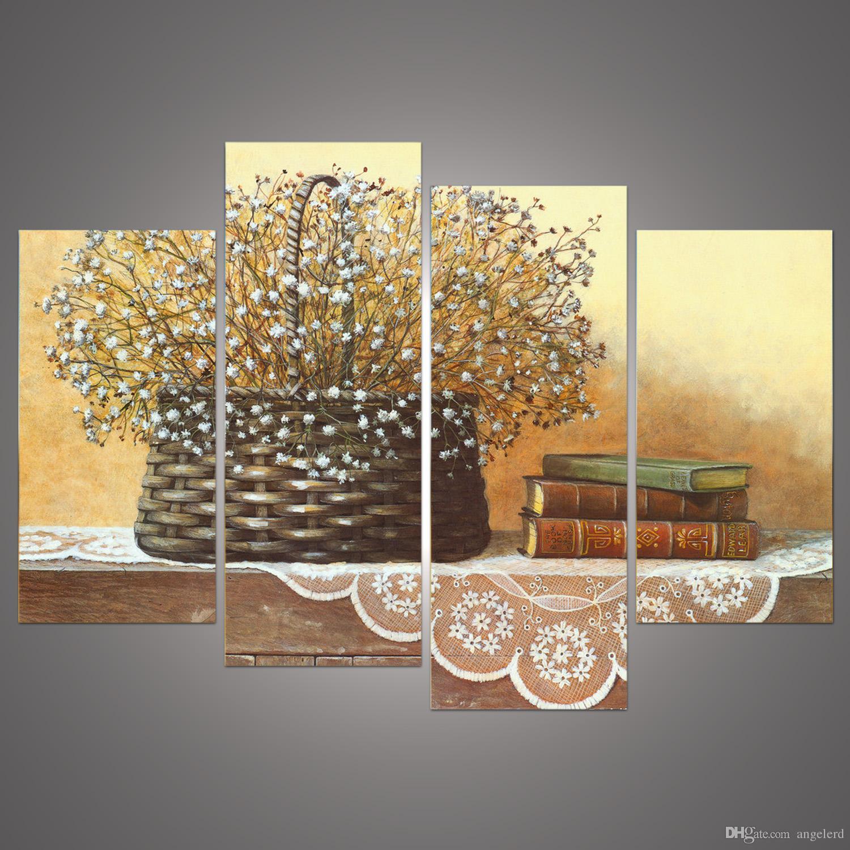 Großhandel 4 Panel Moderne Bedruckte Stilleben Blumen Malerei Bilder ...