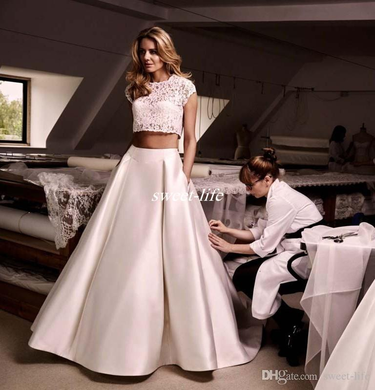 Discount Modest Crop Top Wedding Dresses Two Pieces With Lace ...