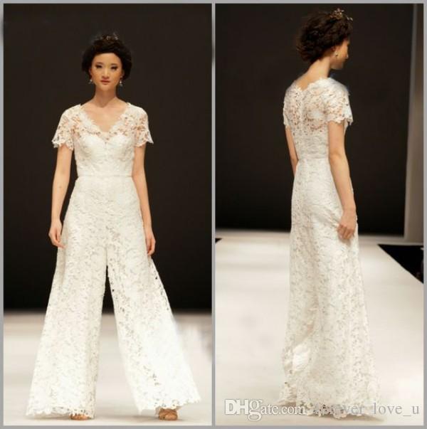 سروال وصول الزفاف الجديدة البدلة الرباط كامل شير V الرقبة الأكمام القصيرة فريدة من نوعها أثواب الزفاف للعرائس ملابس رسمية للWeddigns جودة عالية