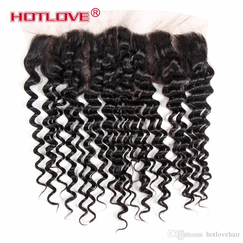 Peruvian Deep Wave Lace Frontal Closure With Bundles 100% Human Hair Weave 3 Bundles With Closure Deep Curly Remy Hair Extension