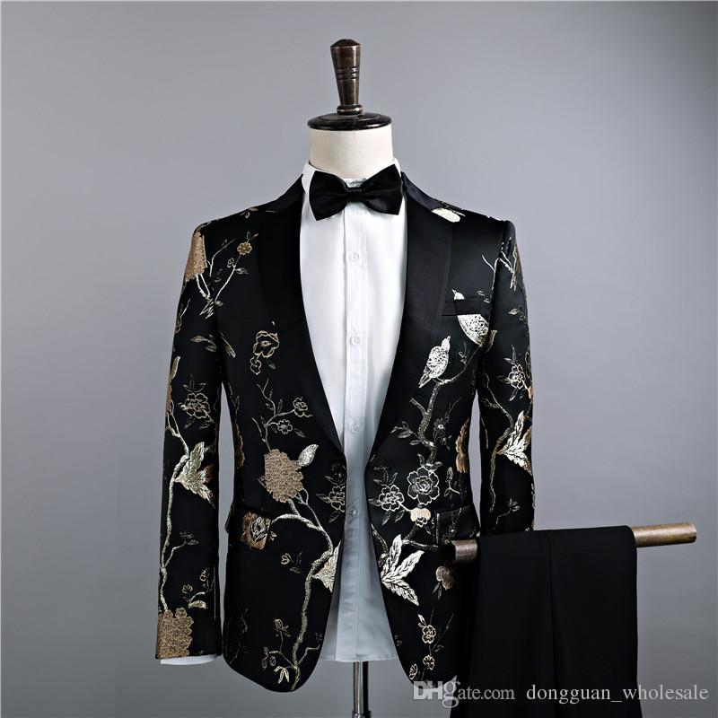 Jaquetas + Calças Ternos de Luxo dos homens Noivo Groomsman Vestido de Negócios Terno Calças de Casamento Dos Homens de Verão Slim Fit Prom Mens Preto em estoque Ternos 2018