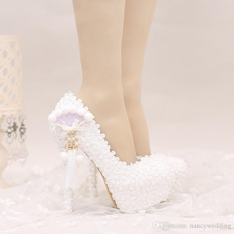 2017 White Lace Wedding Shoes Platforms Beautiful Women Pumps With Appliques  Tassel Gorgeous Design Bridal Party Prom Shoes Pink By Paradox Wedding Shoes  ... af1f690e0ad9