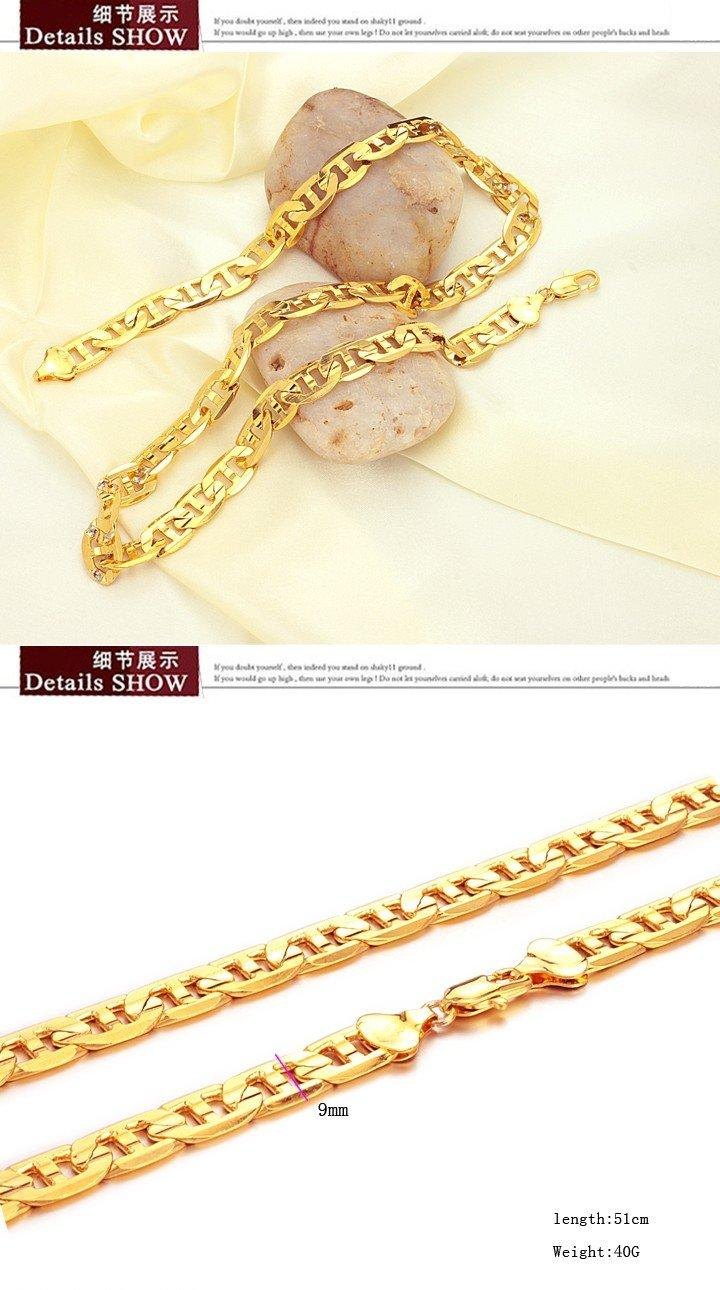JEWELLERY 18K Gold plated Necklace 9mm wide Link chain For cool men factory price promotion 439