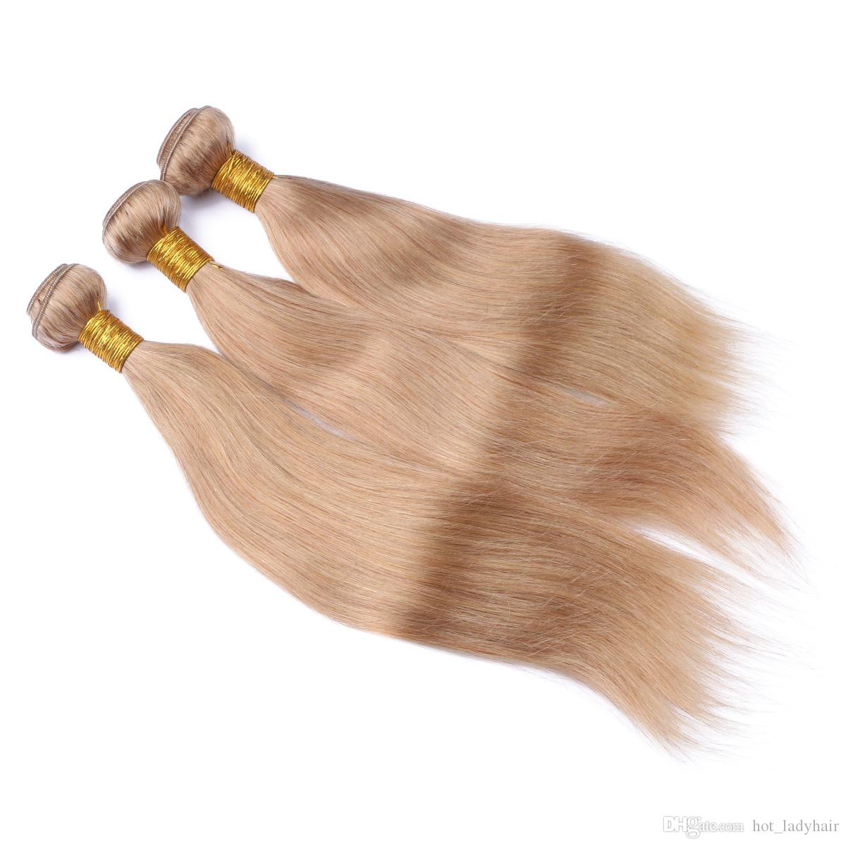 #27 Blonde Malaysian Hair 3Bundles With Top Closure Honey Blonde Straight Human Hair With 4*4 Lace Closure