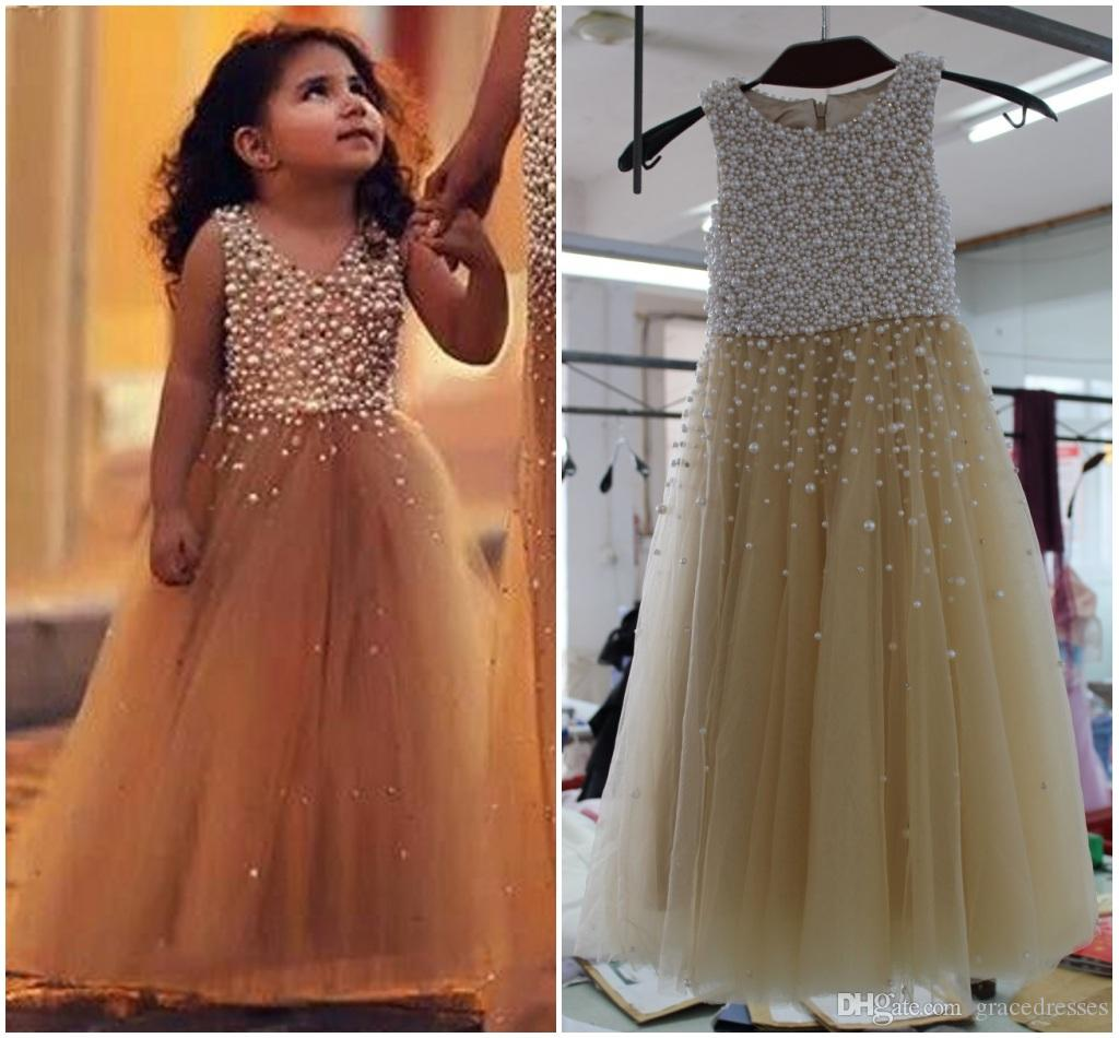 Pageant Dresses For Little Girls Pearls Crystal A Line Tulle Gown