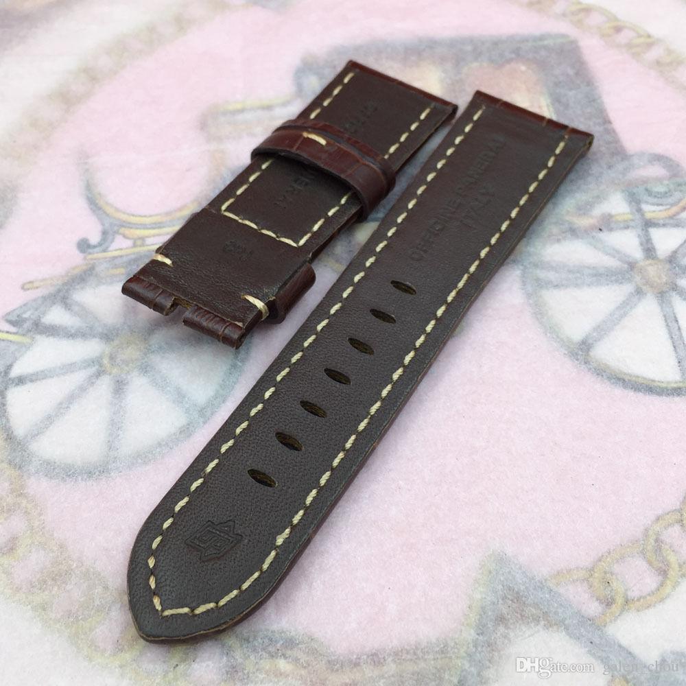 Cinturino a fascia in pelle di vitello marrone rosso serie 26mm 125 / 75mm di alta qualità orologio Panerai UNMINOR
