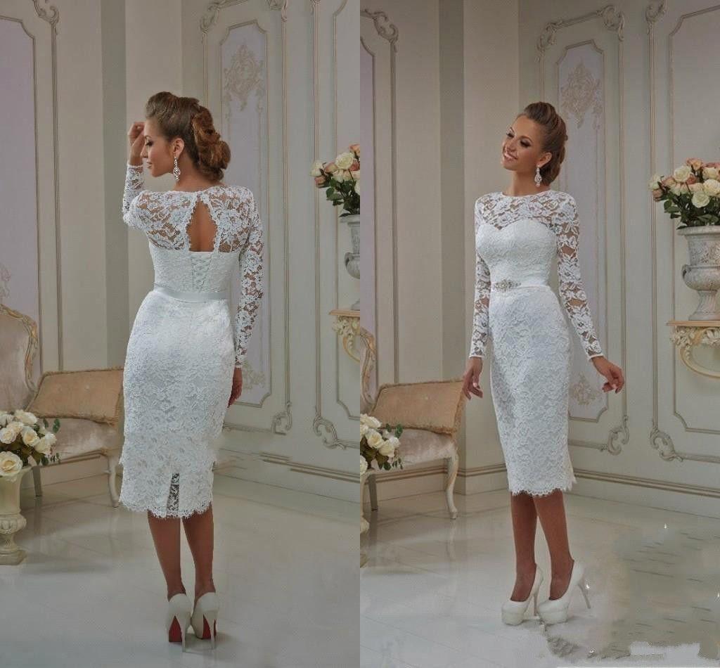 2017 Summer Cheap Bateau Sheat Tea Length Wedding Dresses Lace Long Sleeves Illusion beach Lace Up Split Back Keyhole Backless Bridal Gowns