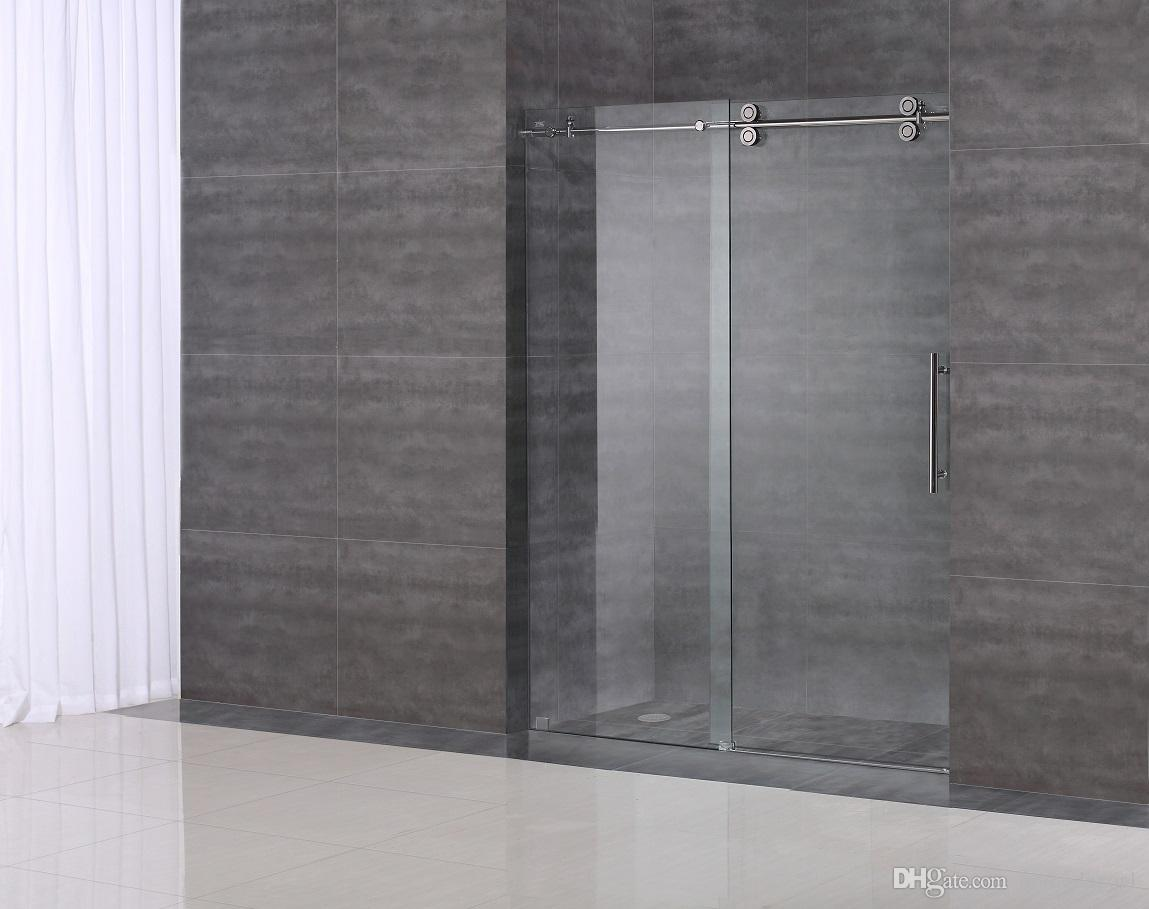 Usa Free Shipping 6 6ft Brushed Sliding Barn Shower Door Twin Roller Frameless Glass Sliding Track Hardware Set Kit Popular