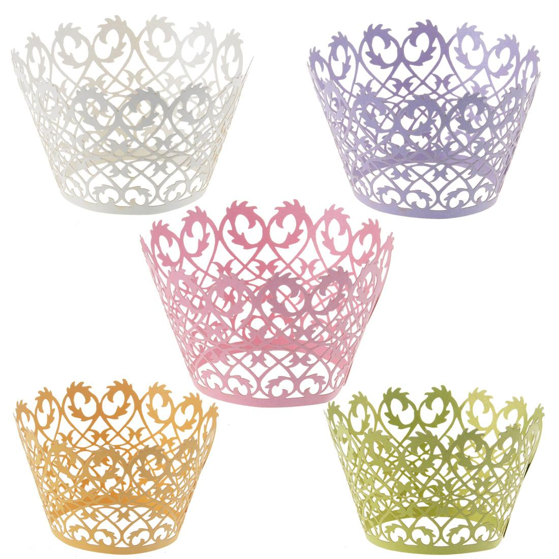 120pcs Laser Cut Cupcake Wrapper Liners Bakeware Muffin Paper Cup Cake Wedding Gift Box Birthday Favor Baby Shower Kitchen Home Bar Decor