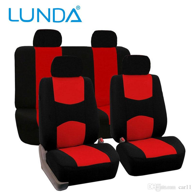 Lunda Set Flat Cloth Mesh Red Black Gray Auto Seat Covers Airbag Compatible Universal Fit For Car Truck Suv Or Van Neoprene