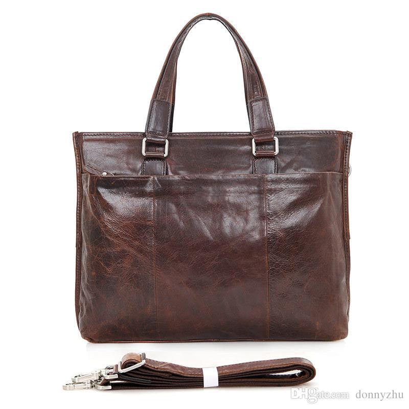 3c0341da19 Mens 100% Genuine Leather Classic Business Shoulder Messenger Bag 14