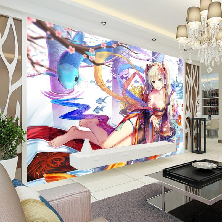 Custom 3D Wallpaper Hatsune Miku Wall Mural Sakura Photo wallpaper Anime girl Bedroom Livingroom Cafe Bar Hotel Kid Room deocr 3D wallpaper