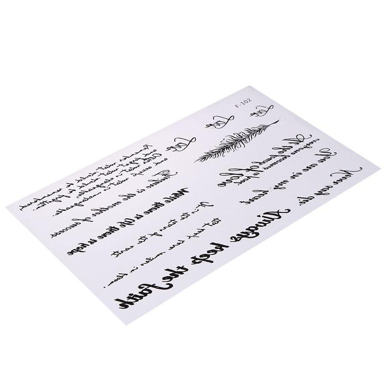 Brazo del cuerpo Palabras de la pluma del tatuaje temporal Etiqueta engomada del arte Carta Arte Tatuaje pegar pegamento extraíble Tatoo