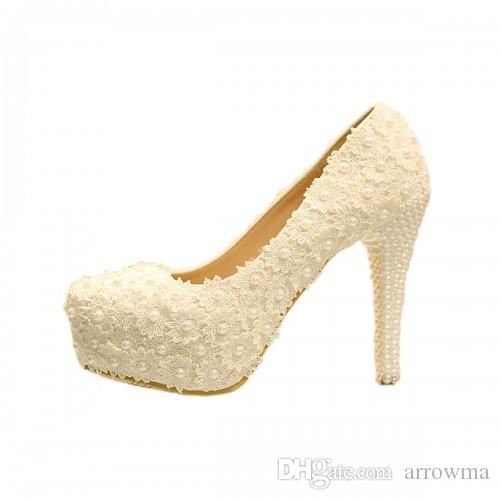 2016 Wedding Bridal Shoes Lace Applique Sexy Pearls Bridal Accessories Ivory Fashion Elegant Womens Pumps Bridal Accessories